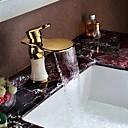 זול ברזים לחדר האמבטיה-ארט דקו / רטרו סט מרכזי מפל / spary Wide with  שסתום קרמי חור ידית אחת אחת for  Ti-PVD , חדר רחצה כיור ברז