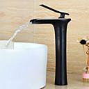 billiga Tvättställsblandare-Badrum Tvättställ Kran - Vattenfall Oljeaktig Brons Centerset Singel Handtag Ett hålBath Taps / Mässing