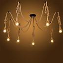 Χαμηλού Κόστους Σχέδιο στυλ κεριών-8-κεφάλι vintage βιομηχανική κάνναβης σχοινί πολυέλαιος σαλόνι κρεμαστό κόσμημα φώτα κρεμαστό κόσμημα φωτός κουζίνας