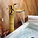 זול ברזים לחדר האמבטיה-חדר רחצה כיור ברז - מפל מים / נפוץ TI-PVD סט מרכזי חור ידית אחת אחתBath Taps / Brass