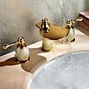 billiga Tvättställsblandare-Art Deco/Retro Hål med bredare avstånd Vattenfall / brett spary with  Mässing Ventil Två handtag tre hål for  Ti-PVD , Badrum Sink kran