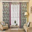 billiga Genomskinliga gardiner-Två paneler Rustik / Rokoko / Europeisk / Designer Arkitektur / Natur och landskap / Lappverk Enligt bilden Living Room Polyester