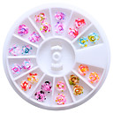 billiga Dekaler-12 färger 6mm harts ros blommor 3d nail art dubbar tips glitter diy hjul blom- design dekorationer för naglar