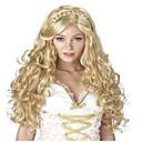 billiga Kostymperuk-Cosplay Peruker Syntetiska peruker Kostymperuker Kroppsvågor Vågigt Sidodel Fläta Peruk Blond Lång Blond Syntetiskt hår Dam Med hästsvans Blond