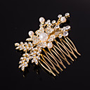 billiga Hårsmycken-silver / guld bladform kristall pärla hår kammar för bröllopsfest dam
