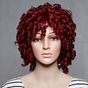 ราคาถูก วิกผมสังเคราะห์-วิกผมสังเคราะห์ ความหงิก ความหงิก ผมปลอม Short แดง สังเคราะห์ สำหรับผู้หญิง แดง