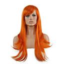 povoljno Sintetičke perike s čipkom-Sintetičke perike Ravan kroj Stil Capless Perika žuta Sintentička kosa Žene Crvena Perika Dug