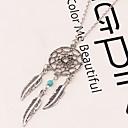 billiga Modehalsband-Dam Hänge Halsband Långt halsband Fjäder Drömfångare Vintage Europeisk Mode Indianer Legering Silver Halsband Smycken Till Party Casual Arbete