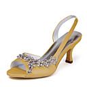 ราคาถูก รองเท้าแต่งงาน-สำหรับผู้หญิง รองเท้าแตะ ส้น Stiletto หินประกาย ซาติน / ยืดผ้าซาติน รองเท้าส้น ฤดูร้อน สีชมพู / สีน้ำตาลอ่อน / คริสตัล / งานแต่งงาน