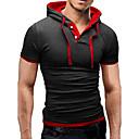 ราคาถูก เสื้อยืดและเสื้อกล้ามผู้ชาย-สำหรับผู้ชาย เสื้อเชิร์ต พื้นฐาน Sport ฮู้ด ลายบล็อคสี เทาอ่อน / แขนสั้น / ฤดูร้อน / สกินนี่
