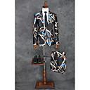 billiga Tvättställsblandare-Svart Mönster Skräddarsydd passform Polyester Kostym - Spetsig Singelknäppt 1 Knapp