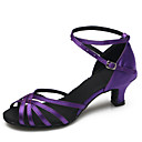 ราคาถูก รองเท้าแบบลาติน-สำหรับผู้หญิง รองเท้าเต้นรำ ซาติน ลาติน / โมเดอร์น หัวเข็มขัด ส้น ส้น Stiletto ตัดเฉพาะได้ สีม่วง / ในที่ร่ม / ฝึก