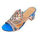 ราคาถูก รองเท้าแตะผู้หญิง-สำหรับผู้หญิง ส้นหนา คริสตัล หนังเทียม ฤดูร้อน สีดำ / ทอง / สีน้ำเงินกรมท่า / EU41