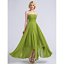 זול שמלות שושבינה-גזרת A סטרפלס באורך הקרסול שיפון שמלה לשושבינה  עם אסוף על ידי LAN TING BRIDE® / גב פתוח