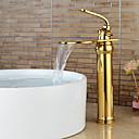 Χαμηλού Κόστους Βρύσες Νιπτήρα Μπάνιου-Μπάνιο βρύση νεροχύτη - Καταρράκτης Ti-PVD Αναμεικτικές με ενιαίες βαλβίδες Ενιαία Χειριστείτε μια τρύπαBath Taps / Ορείχαλκος
