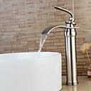ราคาถูก ก๊อกอ่างล้างหน้าในห้องน้ำ-ก๊อกน้ำอ่างล้างจานห้องน้ำ - น้ำตก / กระจาย Nickel Brushed ตัวเจาะนำศูนย์ จับเดี่ยวหนึ่งหลุมBath Taps / Brass