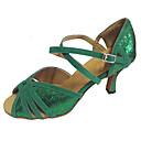 ราคาถูก ผ้าคลุมสำหรับชุดแต่งงาน-สำหรับผู้หญิง รองเท้าเต้นรำ เลื่อม / หนังนิ่ม ลาติน / Salsa รองเท้าแตะ ส้นแบบกำหนดเอง ตัดเฉพาะได้ สีเขียว / ในที่ร่ม / มืออาชีพ