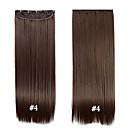 billiga Hästsvansar-Rak Spännen Syntetiskt hår 22 inch HÅRFÖRLÄNGNING Klämma in Klämma In / På Dam Dagligen