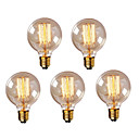 billiga Glödlampa-HRY 5pcs 40W E26 / E27 G95 Varmvit 2300k Kontor / företag Bimbar Dekorativ Glödande Vintage Edison glödlampa 220-240V