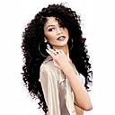 billiga Tvättställsblandare-Syntetiska peruker Lockigt Sexigt Lockigt Frisyr i lager Spetsfront Peruk Lång Svart Syntetiskt hår Dam Värmetåligt Naturlig hårlinje Sidodel Svart / Afro-amerikansk peruk
