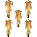 ราคาถูก หลอดไฟแบบไส้-brelong 5 ชิ้น e26 / e27 40 วัตต์ st64 หรี่แสงได้ edison หลอดไฟตกแต่งสีขาวอบอุ่น
