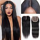 Χαμηλού Κόστους Εξτένσιος μαλλιών με φυσικό χρώμα-Yestar Βραζιλιάνικη Σχήμα U / Δαντέλα Μπροστά Χωρίς Κόλλα / 4x4 Κλείσιμο Ίσιο / Κλασσικά Δωρεάν Μέρος / Μεσαίο τμήμα / 3 Μέρος Ελβετική δαντέλα Φυσικά μαλλιά Γυναικεία με τα μαλλιά μωρών Καθημερινά
