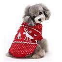 Χαμηλού Κόστους Χριστουγεννιάτικα κοστούμια για κατοικ-Γάτα Σκύλος Πουλόβερ Χειμώνας Ρούχα για σκύλους Κόκκινο Μπλε Στολές Βαμβάκι Τάρανδος Διατηρείτε Ζεστό Χριστούγεννα XS Τ M L XL XXL