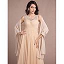 ราคาถูก ผ้าคลุมสำหรับชุดแต่งงาน-เสื้อไม่มีแขน ชิฟฟอน งานแต่งงาน / Party / Evening Women's Wrap กับ จีบข้าง ผ้าคลุมไหล่