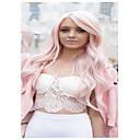 billiga Syntetiska peruker utan hätta-Syntetiska peruker Vågigt Kardashian Stil Med lugg Peruk Rosa Ljusrosa Syntetiskt hår Dam Sidodel Rosa Peruk Lång