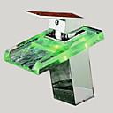 billiga Tvättställsblandare-Badrum Tvättställ Kran - Vattenfall Krom Centerset Ett hål / Singel Handtag Ett hålBath Taps / Mässing