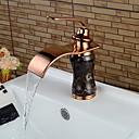 olcso Fürdőszobai kagyló csaptelep-Fürdőszoba mosogató csaptelep - Vízesés Vörös arany Három lyukas Egy fogantyú egy lyukkalBath Taps