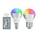billige Telt og ly-YWXLIGHT® 2pcs 5 W LED-globepærer 300 lm E14 E26 / E27 1 LED perler Integrert LED Mulighet for demping Fjernstyrt Dekorativ RGB 220-240 V 110-130 V 85-265 V / 2 stk. / RoHs