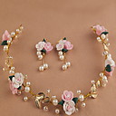 billiga Hårsmycken-blad vacker ros blomsterkransar pannband för dam bröllopsfest semester hår smycken