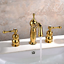 ราคาถูก ผ้าม่าน-ร่วมสมัย Art Deco/Retro ที่ทันสมัย กระจาย กระจาย Ceramic Valve จับสองสามหลุม Ti-PVD, ก๊อกน้ำอ่างล้างจานห้องน้ำ