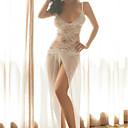 baratos Botas Femininas-Mulheres Renda Sexy Super Sensual Roupa de Noite Jacquard Branco M L XL / Decote V