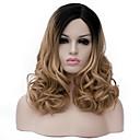 billiga Moduler-Syntetiska peruker Lockigt Peruk Mellan Ljusbrun Syntetiskt hår Dam Brun