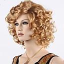 billiga Utan lock-Syntetiska peruker Lockigt Lockigt Med lugg Peruk Blond Korta Medium Guld Brun Syntetiskt hår Dam Ombre-hår Sidodel Blond