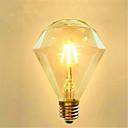 billige Praktiske spøker-1pc 4 W LED-glødepærer 350 lm E26 / E27 G95 4 LED perler COB Dekorativ Varm hvit 220-240 V / 1 stk. / RoHs