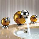 billiga Tvättställsblandare-Konst Dekor / Retro Hål med bredare avstånd Utbredd Keramisk Ventil Två handtag tre hål Ti-PVD, Badrum Tvättställ Kran