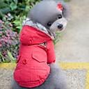 Χαμηλού Κόστους στολές κατάδυσης και αδιάβροχες μπλούζες-Γάτα Σκύλος Παλτά Φούτερ με Κουκούλα Χειμώνας Ρούχα για σκύλους Κόκκινο Μπλε Στολές Βαμβάκι Μονόχρωμο Διατηρείτε Ζεστό Rezistent la Vânt Τ M L XL XXL