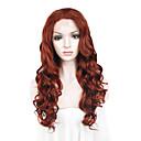 billige Hairextension med naturlig farge-Syntetisk blonder foran parykker Bølget Bølget Blonde Forside Parykk Rødbrun Syntetisk hår Dame Rød