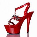 ราคาถูก รองเท้าแตะผู้หญิง-สำหรับผู้หญิง รองเท้าแตะ รองเท้าแตะสายคล้องไขว้ ส้น Stiletto / Platform หัวเข็มขัด หนังสิทธิบัตร / วัสดุที่กำหนดเอง รองเท้าคลับ ฤดูร้อน / ตก ขาว / สีเงิน / แดง / พรรคและเย็น / พรรคและเย็น / EU36
