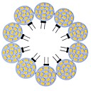billige Bi-pin lamper med LED-10pcs 3 W LED-lamper med G-sokkel 200-300 lm G4 T 15 LED perler SMD 5730 Dekorativ Varm hvit Kjølig hvit 12 V / 10 stk. / RoHs