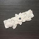 ราคาถูก ถุงเท้าสำหรับงานแต่งงาน-ลูกไม้ / ซาตินยืด แฟชั่น Wedding Garter กับ หินประกาย / ดอกไม้ สายรัด