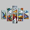 baratos Impressões-Pintura a Óleo Pintados à mão - Paisagens Abstratas Modern Com Moldura / 5 Painéis / Lona esticada