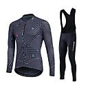 Χαμηλού Κόστους T-shirt Πεζοπορίας-Fastcute Ανδρικά Μακρυμάνικο Αθλητική φανέλα και κολάν ποδηλασίας Χειμώνας Προβιά Πολυεστέρας Σιλικόνη Μαύρο Λευκό Μεγάλα Μεγέθη Ποδήλατο Ρούχα σύνολα Διατηρείτε Ζεστό Φλις Επένδυση Αναπνέει 3D Pad