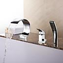 billiga Badkarskranar-Badkarskran - Nutida Krom Romerskt badkar Keramisk Ventil Bath Shower Mixer Taps / Mässing / Enda handtag tre hål