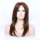 halpa Aitohiusperuukit verkolla-Virgin-hius Liimaton puoliverkko Lace Front Peruukki Kerroksittainen leikkaus Vapaa osa tyyli Brasilialainen Suora Peruukki 130% 150% 180% Hiusten tiheys ja vauvan hiukset Luonnollinen hiusviiva