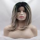 Χαμηλού Κόστους Ιδιαίτερες συνθετικές περούκες με δαντέλα-Συνθετικές μπροστινές περούκες δαντέλας Κυματιστό Κυματιστό Κούρεμα καρέ Δαντέλα Μπροστά Περούκα Ombre Γκρίζο Συνθετικά μαλλιά Γυναικεία Μεσαίο καρέ Ombre