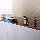 Χαμηλού Κόστους Ξεπλύνετε φώτα τοίχο Όρος-Βρύση Μπανιέρας - Μοντέρνα Λαδωμένο Μπρούντζινο Ρωμαϊκή Μπανιέρα Κεραμική Βαλβίδα Bath Shower Mixer Taps / Ορείχαλκος / Ενιαία Χειριστείτε τρεις οπές